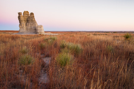 tourist feature: Castle Rock in Kansas is a dramatic 70-foot spire created by erosion of Smoky Hills chalk beds.