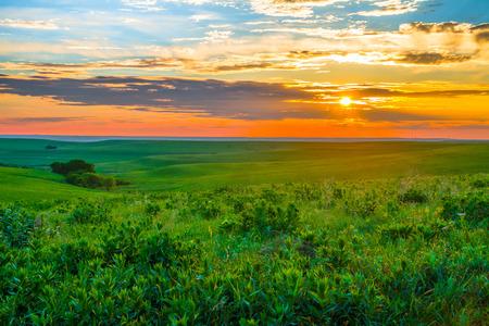 これまで背景放牧とカンザスの火打石の丘の夕日。