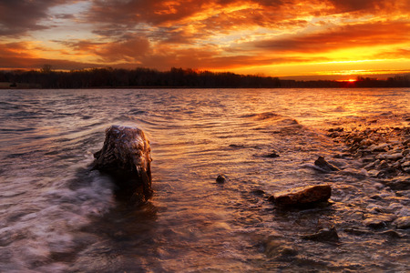 Sunrise at Longview Lake just outside of Kansas City, Missouri Zdjęcie Seryjne