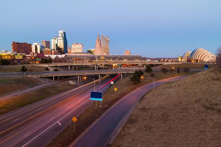 Kansas City at twilight with no copyright or trademark symbols