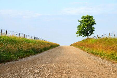 中西部の一部の農地を砂利で国の裏道