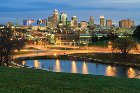city panorama: An elevated view of an early morning in Kansas City, Missouri in the fall time. Stock Photo