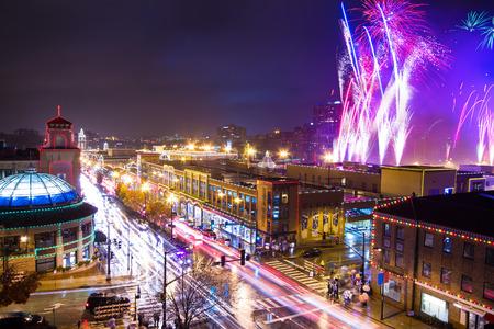 カンザス シティ カントリー クラブ プラザ照明お祝いの花火 写真素材
