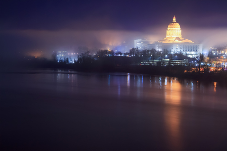 A foggy night skyline of the Missouri Capitol building in Jeffereson City, Missouri