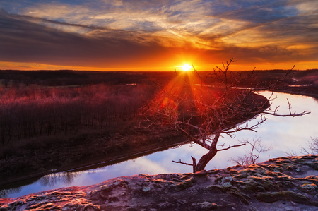 View from a bluff overlooking the Osage River during sunset with a colorful sunset Stock Photo