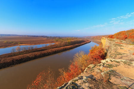 missouri: View of the Osage River during the autumn from a bluff in the Ozarks of Missouri. Stock Photo