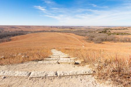Trail cutting through the Konza Prairie in Kansas