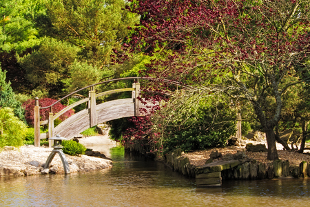 Arch bridge wooden over a pond at a Japanese style botanical garden in Missouri 写真素材