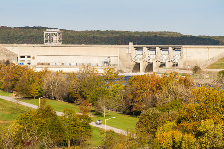 Harry S. Truman dam in Warsaw, Missouri used to control flooding in the Osage River Valley.  It produces electricity through the generators as the water flows through the turbines.