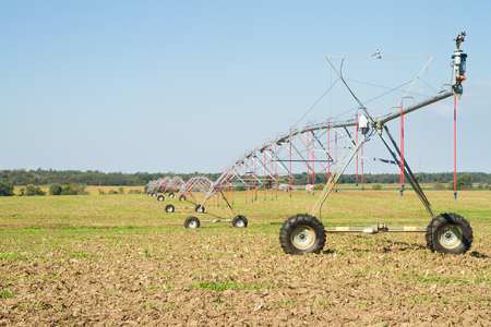 Field with a pivot sprinkler system for irrigation in the Midwest section of the United States