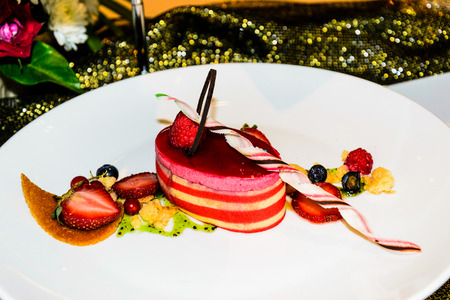 frence: cake strawberry decoration in modern frence cuisine by pastry chef