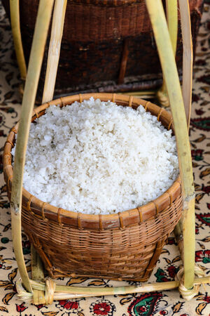 tast: salt product from sea pan in petchburi province thailand Stock Photo