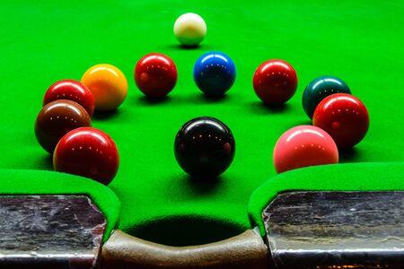 snooker balls: snooker balls on green table Stock Photo