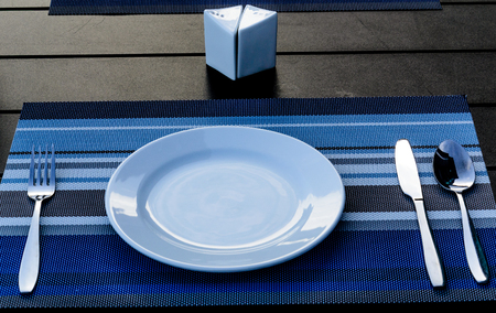 standard steel: standard table set up for service food in hotel and restaurant Stock Photo