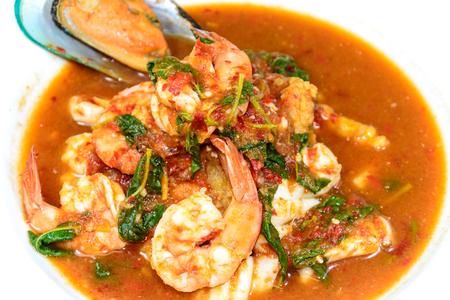 santa cena: sopa de marisco agria menú de comida tailandesa picante disfrutar con arroz y sin grasa buena para la salud
