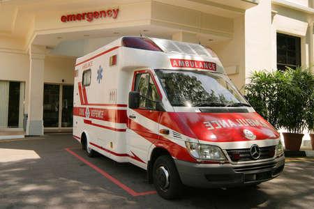 emergency ambulance: emergency ambulance in bay Stock Photo