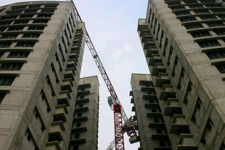 an erection: construction cranes at twilight