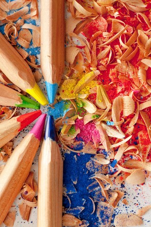 Wooden colorful pencils with rubbish photo