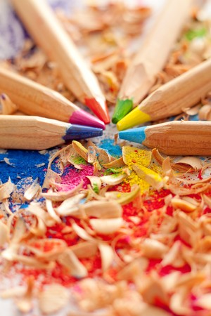 Wooden colorful pencils with shavings photo