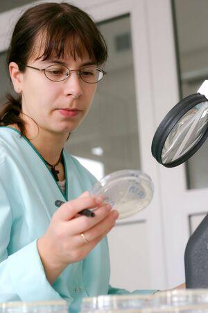 test probe: Giovane donna esegue test batteriologici in laboratorio