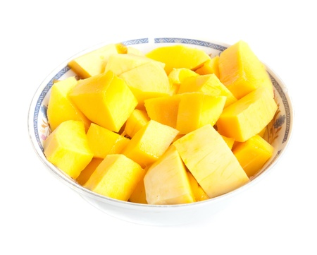 Cut into small pieces of mango