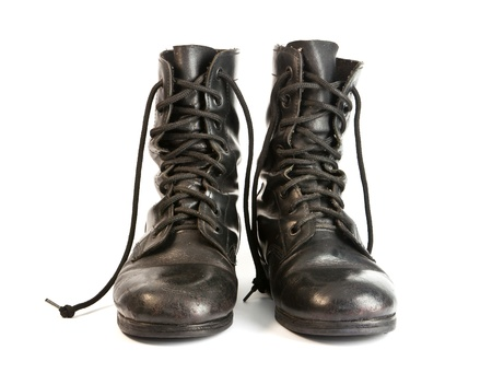 Schwarzes Leder Army Stiefel Standard-Bild - 14125070