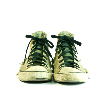 shoe model: vintage green sneaker isolated