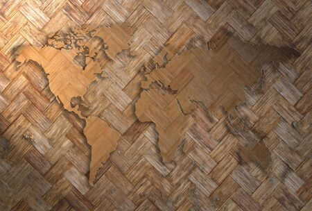 world map carving on wood wave plank Stock Photo - 14284619