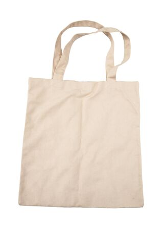 Brown cotton bag on white isolated background  photo