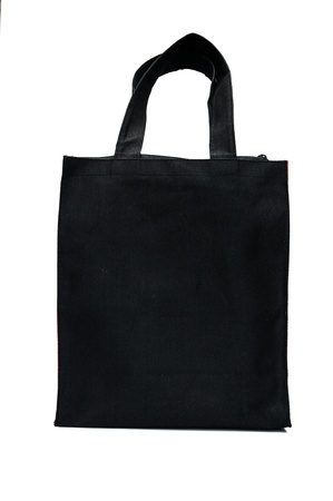Black cotton bag on white isolated background