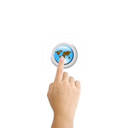 Hand pressing a Globe button with index finger extended Stock Photo