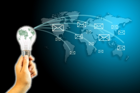 send e-mail to the world for communication concept Stock Photo - 14284558