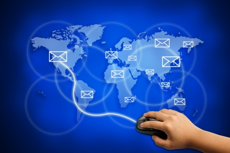 send e-mail to the world for communication concept  Stock Photo - 14284615