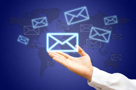 Hands with world mail delivery on map background Stock Photo - 14354744