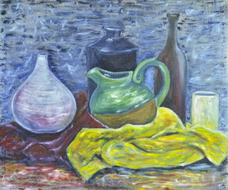 Original oil on canvas still life of pottery photo
