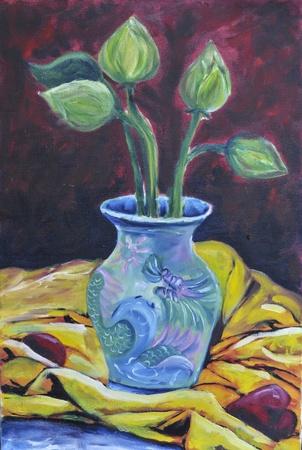 original oil on canvas still life lotus on vast photo