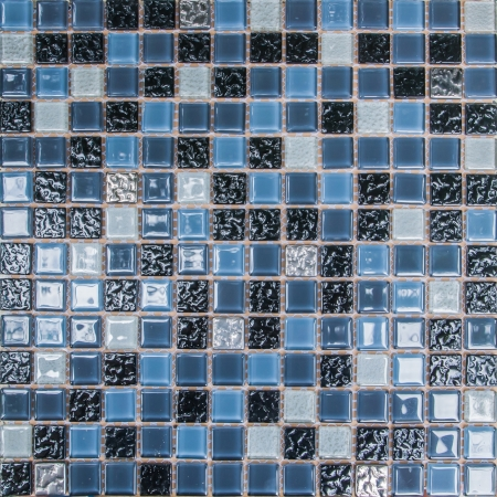 tiled wall: colorful modern mosaic tile in a bathroom