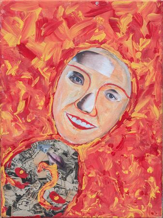 Oil painting face on canvas photo