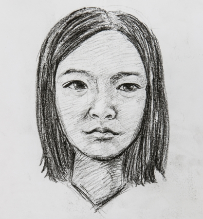woman sketch: illustrated portrait of beautiful girl   pencil drawing