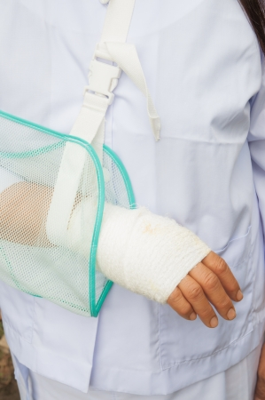 cut wrist: Healthcare wounded hand, bandages, woman in the hospital, health