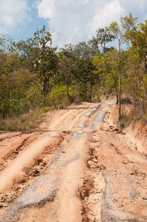 Broken road by an earthquake or landslide in mountain Stock Photo - 17754317
