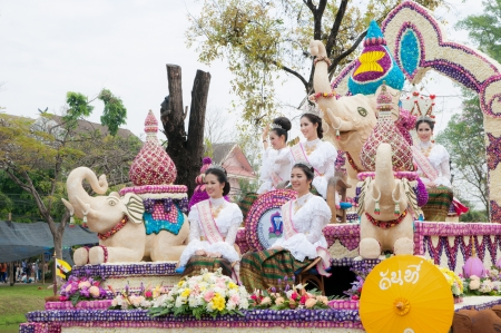 CHIANG MAI,THAILAND-FEB.2 : 37th Anniversary Chiang Mai Flower Festival, Unidentified woman in parade annual Chiang Mai flower festival. on Feb.2, 2013 in Chiang Mai,Thailand.