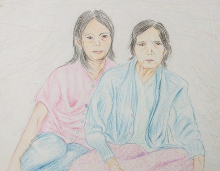asia family: two girl asia family Stock Photo