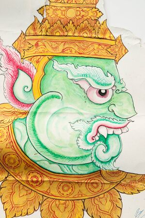 thaiart: water color of green giant,thai art