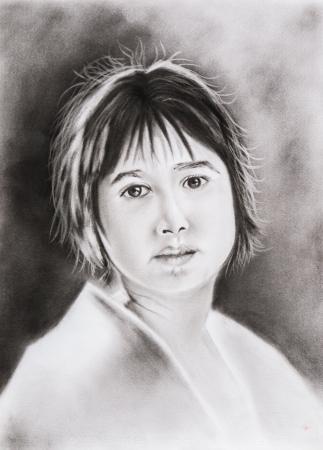 beautiful girl watching attentively - freehand pencil drawing  not a real person  photo