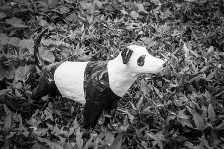 panting: Sculpture dog be panting panda,made from paper mache