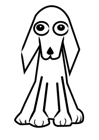 dog cartoon line on white background photo