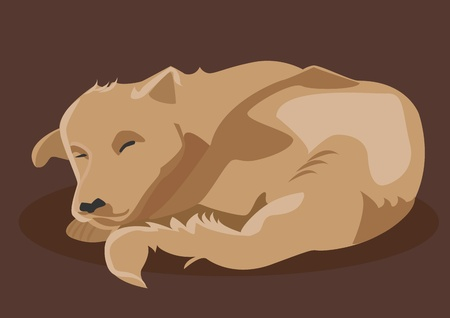Vector drawing of brown dog sleeping Stock Vector - 18762099
