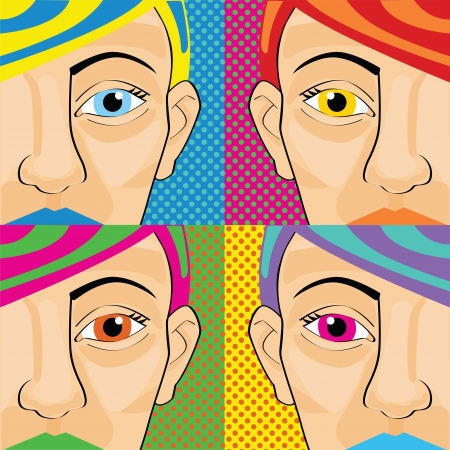 Colorful pop art women,vintage woman character Vector