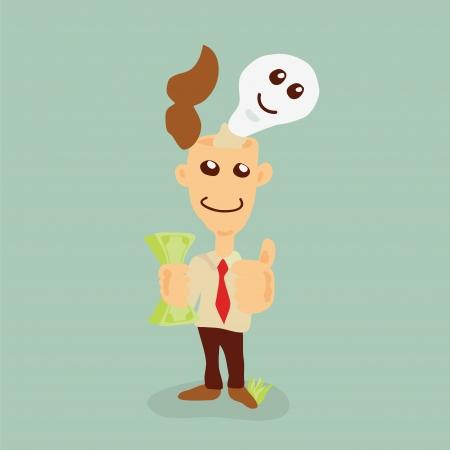 businessman earning Money from ideas Vector